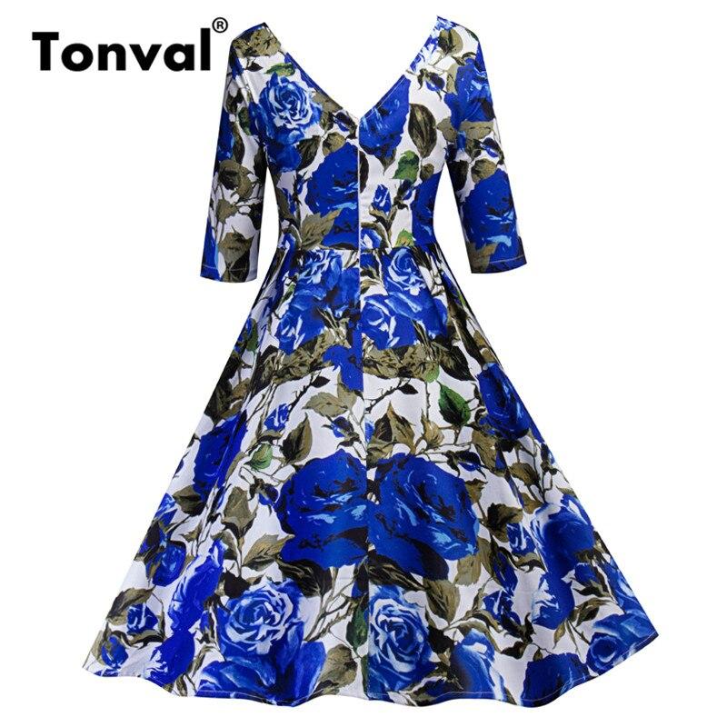 Tonval Blue Flower Print Retro Dress 18 Vintage Women Pleated Dress Summer Half Sleeve Party Backless Floral Dresses 2