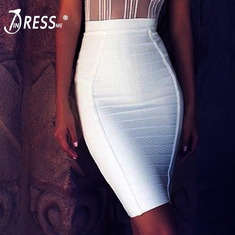 INDRESSME 19 New Sexy Pencil Bodycon Skirt Striped Knee-Length Bandage Skirts Wear To Work Summer Wholesale 1