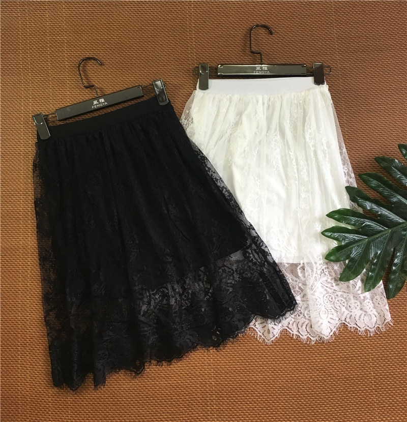 Spring Summer Women Skirt Sexy Lace Mesh Hollow Out Slim Bodycon Tight Pencil Elegant Transparent Black White Skirt D006 2