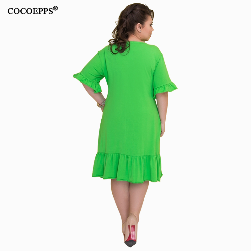 COCOEPSS 19 Plus Size Casual Loose Dress Big Size Women Dress Summer Half Sleeve Dress Ruffles Elegant Party Large Size Dress 3