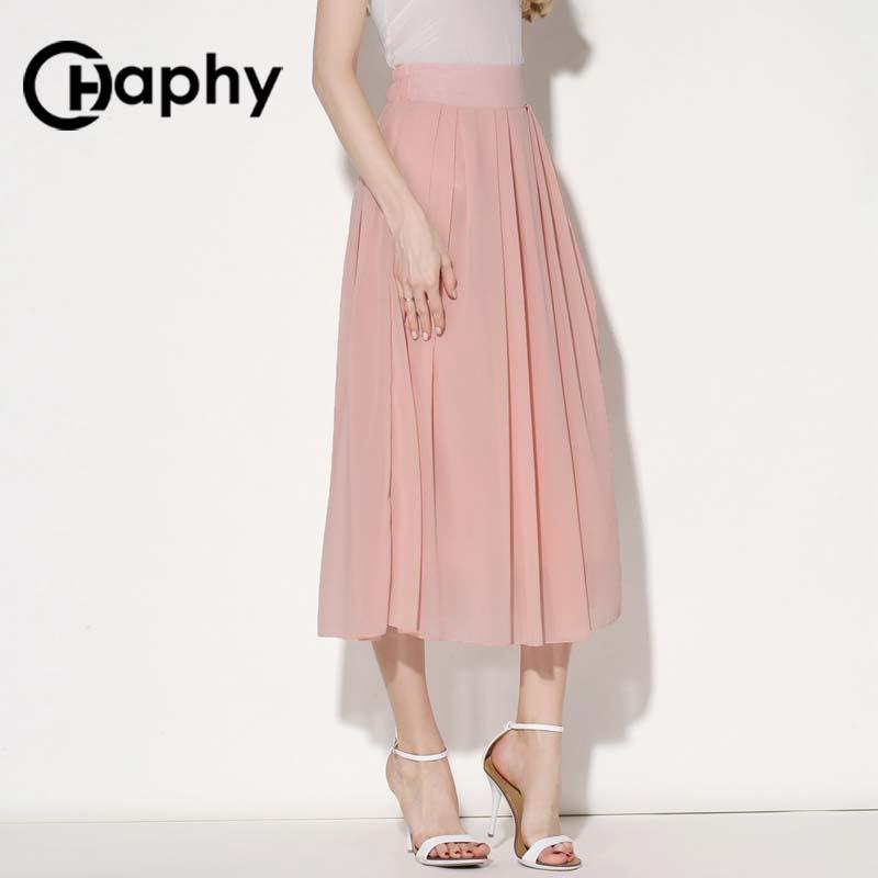 Solid Long Chiffon Skirts 18 Summer All-match Pink Maxi Pleated Chiffon Skirt High Waist A Line Chiffon Pleated Maxi Skirts 3