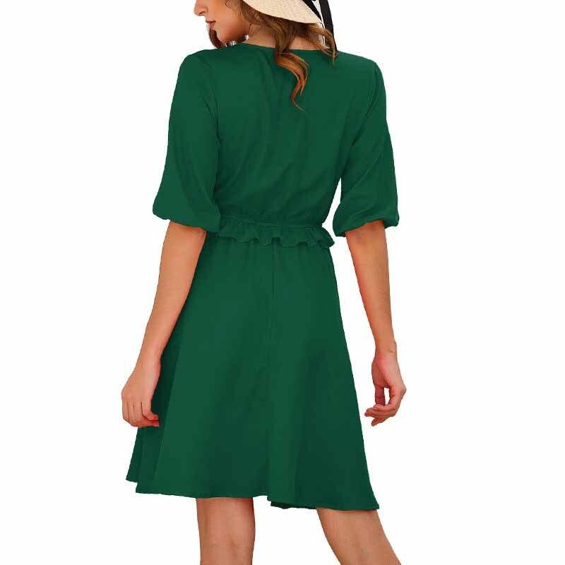 19 Summer Women A-Line Dress Sweet Solid Ruffled Dress Ruffles Half Sleeve V-Neck Mini Dress 3