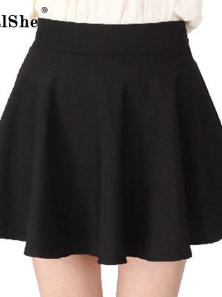 RealShe Women Autumn Pleated Skirt Casual High Waist Short Tutu Skirts Womens Saia Mini 18 Jupe Femme Skirt