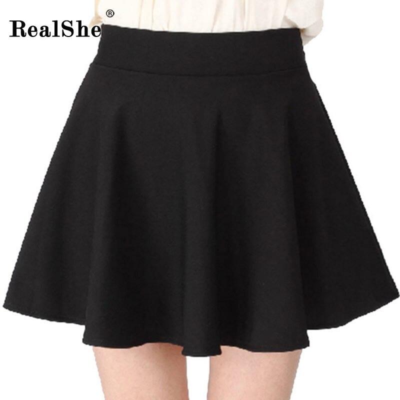 RealShe Women Autumn Pleated Skirt Casual High Waist Short Tutu Skirts Womens Saia Mini 18 Jupe Femme Skirt