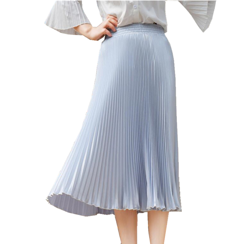 FLOWER SKY Summer New Fashion Stretch Bright Pleated Skirt Women A Line Mid Maxi Flare Party Skirts Womens Saia 2