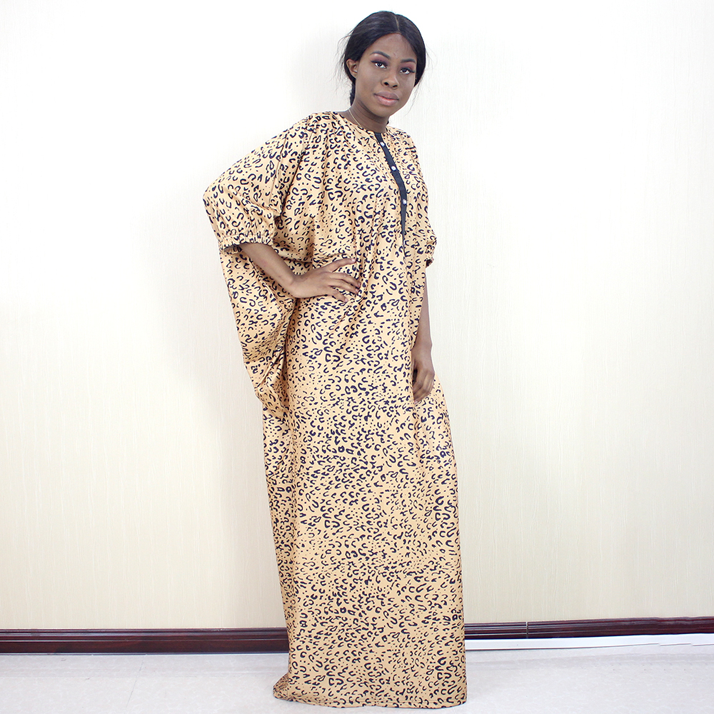New Arrivals Traditional Print African Dresses for Women Button Indie Folk Autumn Half Sleeve Maxi Dress 2