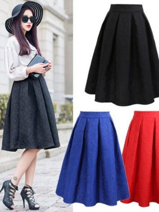Neophil 19 Winter Black Red Jacquard Pleated Ball Gown Skater Ladies Midi Skirts Womens Plus Size Office Wear Tutu Saia S08044