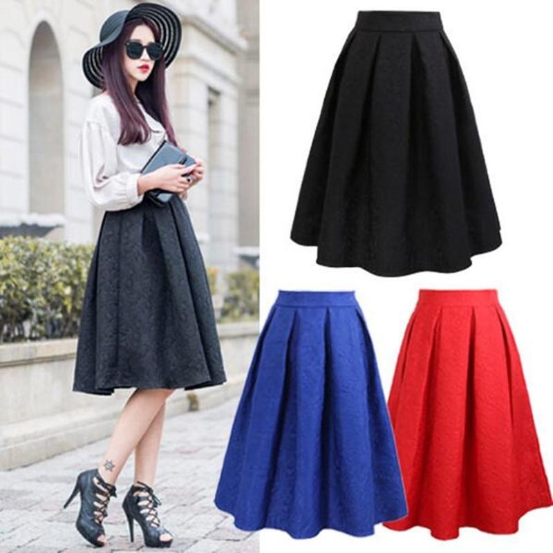 Neophil 19 Winter Black Red Jacquard Pleated Ball Gown Skater Ladies Midi Skirts Womens Plus Size Office Wear Tutu Saia S08044