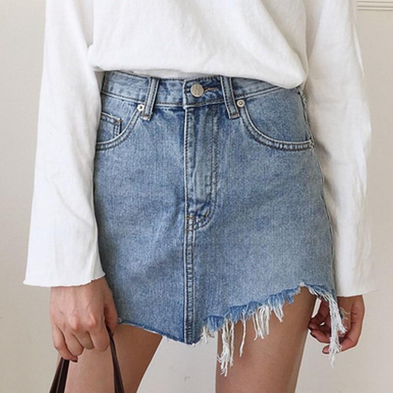 Summer Women's Skirt Short Sexy Denim Skirts Womens Irregular Brushed Hem Jean Mini Skirt Fashion Streetwear High Waist Skirt 2