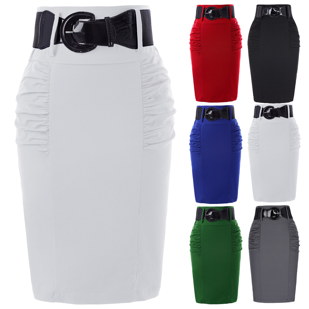 Pencil Skirts Womens Solid Black Grey Red Blue With Belt Slim High Waist Saia Bodycon Casual Office Work OL Midi Skirt Faldas 2