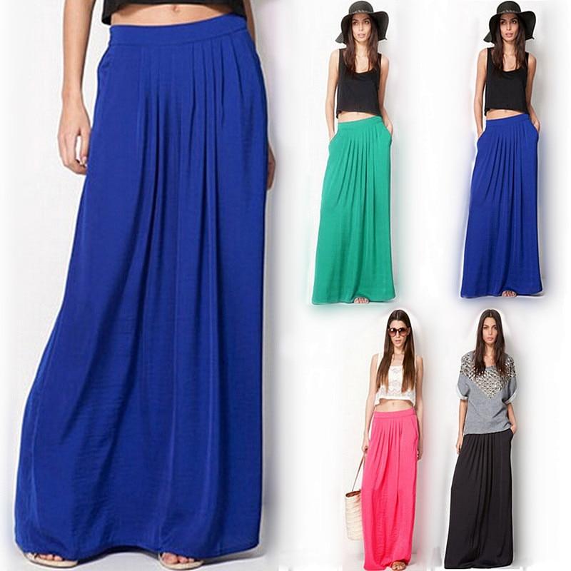 Summer Vintage Long Skirt Womens saia Elastic Waist Elegant Thin Pleate Skirt Ladies Casual Beach Solid Maxi Skirts faldas 1