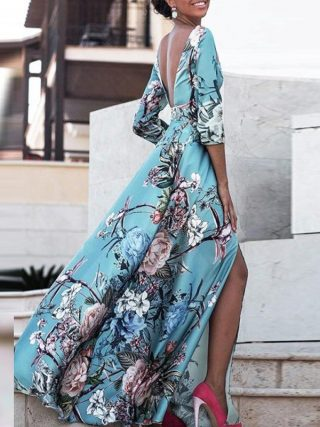 19 Women Boho Half Sleeve Backless Floral Dress Sexy Maxi Long Dress Party Beach Dress