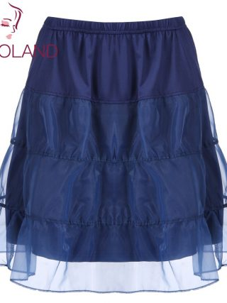 IN'VOLAND Women Skirt Plus Size Organza Patchwork Elastic Band Casual Flared Lady A-Line Tiered Beach Skater Skirt Plus Size