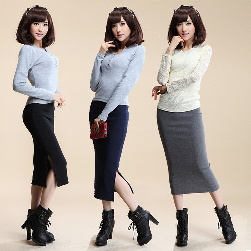 16 Autumn Winter Women Skirt Wool Rib Knit Long Skirt Faldas Package Hip Split Skirts D919