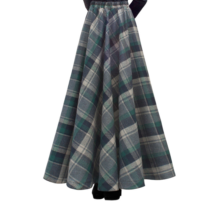 Free Shipping 19 New Fashion Long Maxi Thick A-line Skirts For Women Elastic Waist Winter Plaid Woolen Skirts Warm With Pocket 1