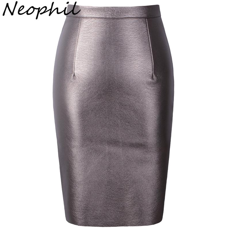 Neophil 19 Winter Sexy Faux Fur Leather Pu High Waist Midi Women Pencil Skirts XXL Office Bodycon Short Girls Tutu Saia S08019