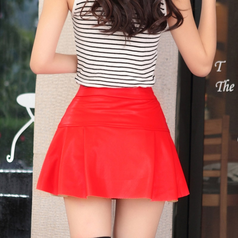 Free shipping new high waist high quality leather skater flare skirt mini skirt above knee solid color skirt S/M/L/XL/2XL 3
