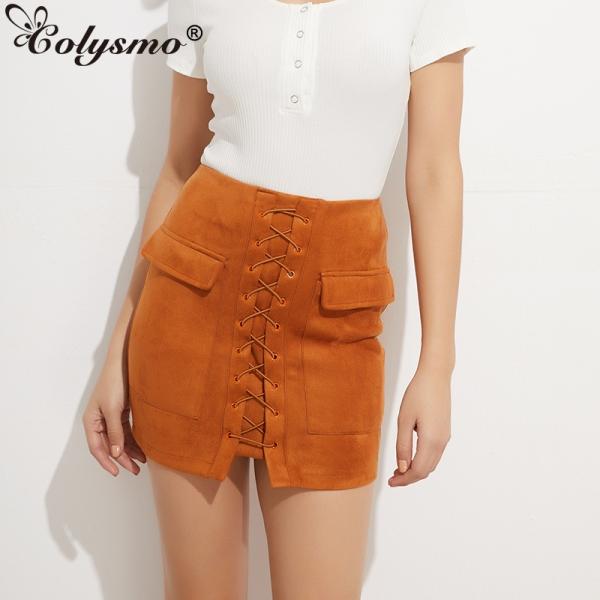 Colysmo Vintage Suede Skirt High Waist Pencil Skirt Winter External Pocket Faux Leather Skirts Womens Autumn Mini Skirt Saia New