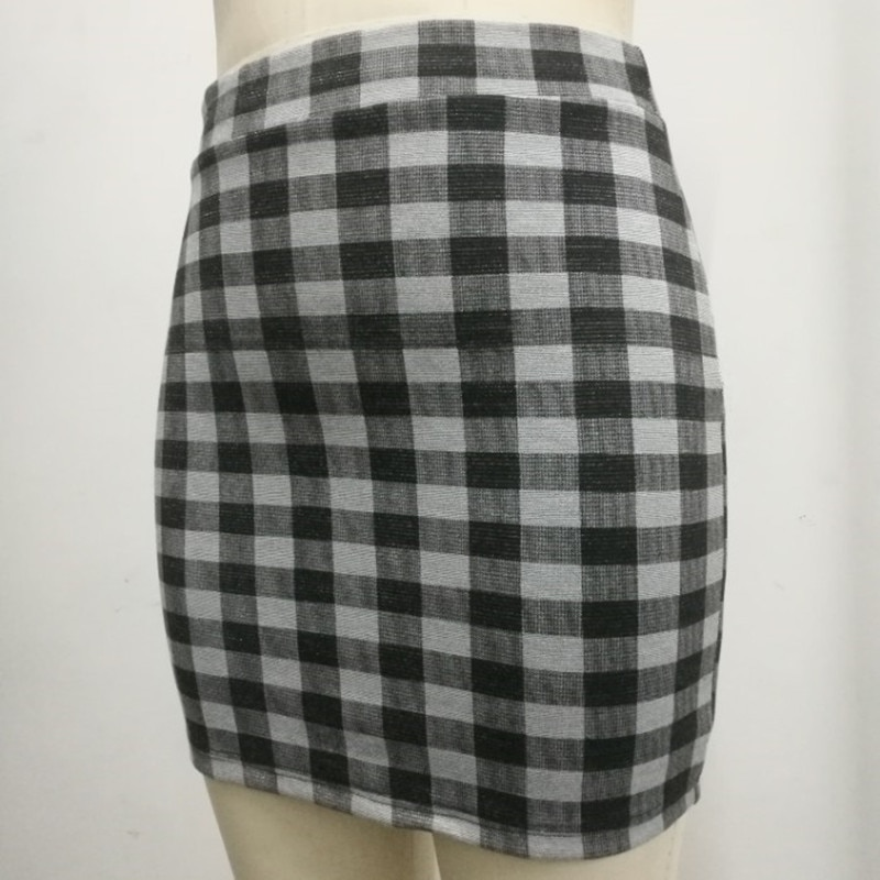 1 pc spring and summer Women Skirt High Waist Pencil Skirts Elastic Slim Office Black and plaid Skirt Two styles 2