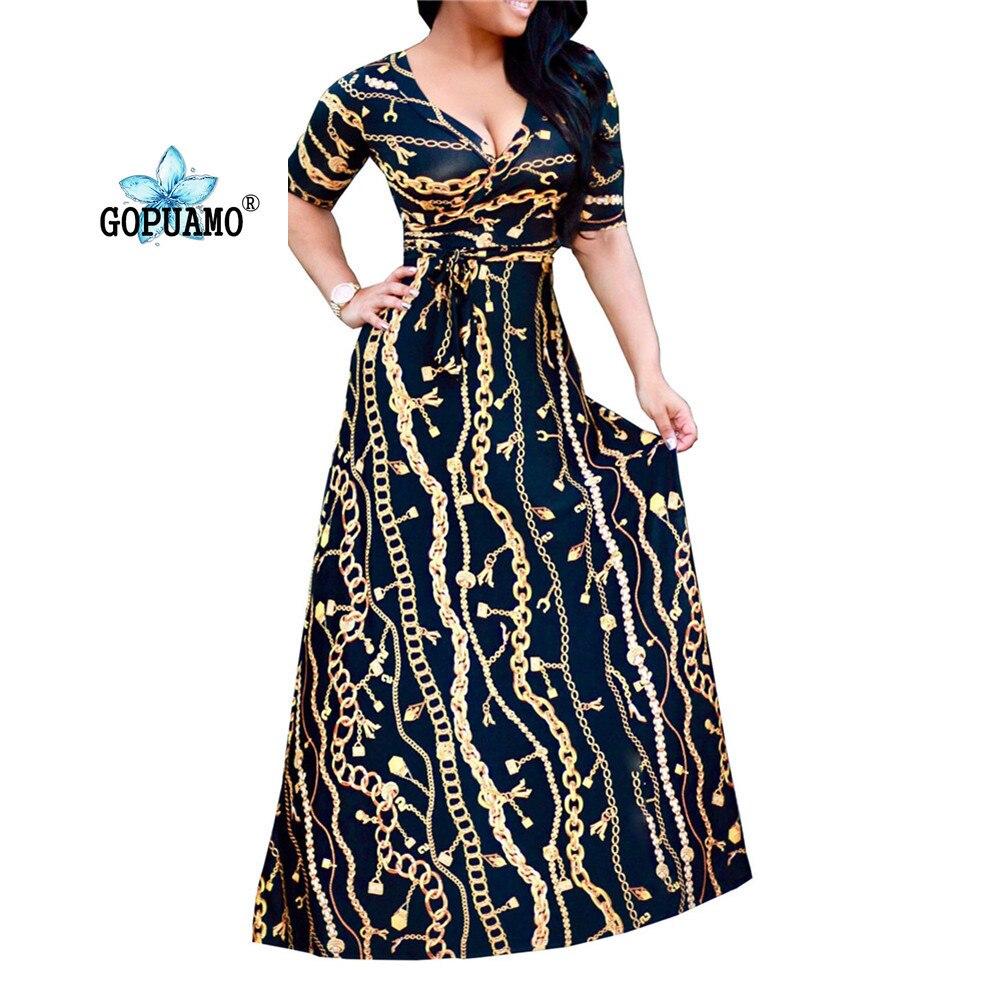 18 New Arrival Women Maxi Dresses V-Neck half Sleeve Womens Fashion Iron chain print Long Party Dress D1150-1152 sexy dress 1