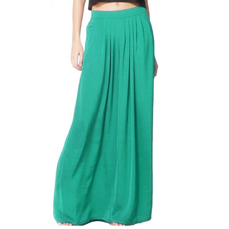 Summer Vintage Long Skirt Womens saia Elastic Waist Elegant Thin Pleate Skirt Ladies Casual Beach Solid Maxi Skirts faldas 3