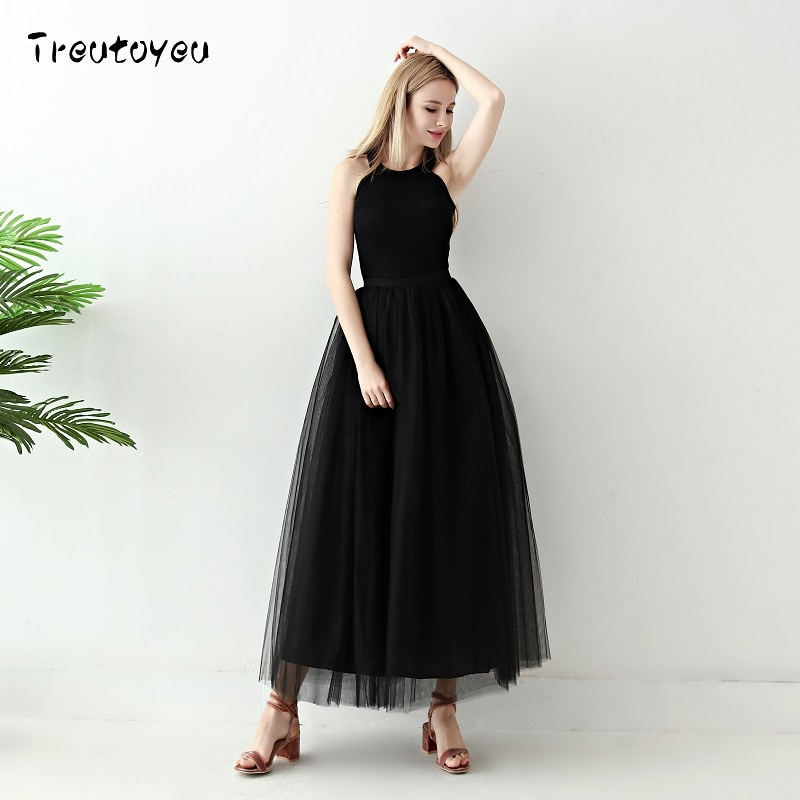 5 Layers Long Tutu Skirts 18 Summer Fashion Womens Princess Fairy Style Voile Tulle Skirt Bouffant Puffy Fashion Skirt