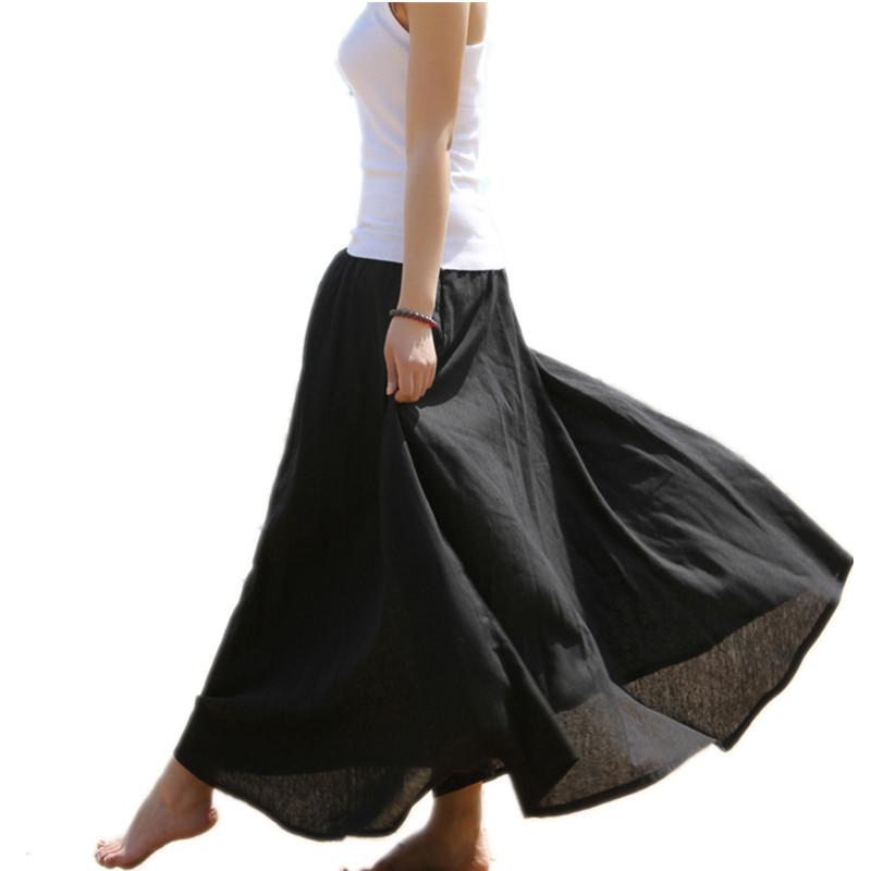 Free Shipping 18 Fashion Women Summer Spring New Linen Cotton Long Maxi Skirt Elastic Waist Bohemian Beach A-line Ladies Skirt 2