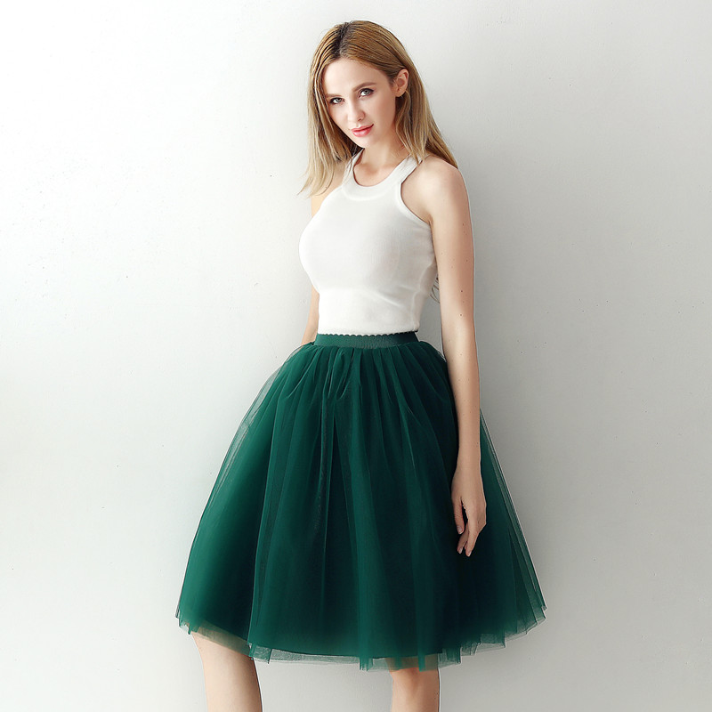 5 Layers 65cm Black Pleated skirt Sexy Midi Tulle skirt High Waist Full Lining Adult Tutu Korean Style Women 2