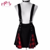 Dark Black 2 Wears High Waist Belt Mosaic Lattice Zip Suspenders Skirt For Ladies Red Stretchy Cute Punk 17 Party Strap Skirt