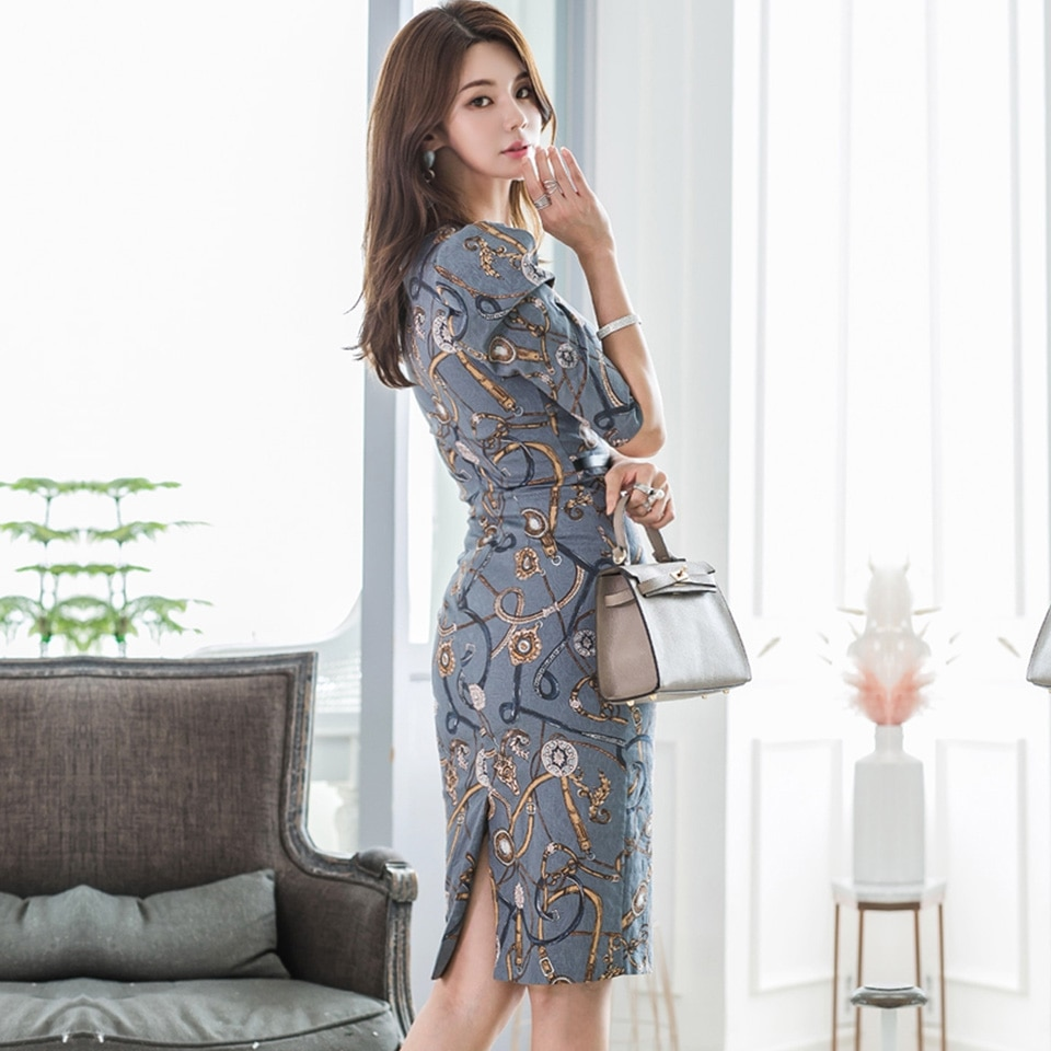 Fashion Pattern Office Lady Dress 19 Autumn High Waist Slim Decorative Belt Half Sleeve Simple Elegant Party Dress Women 2