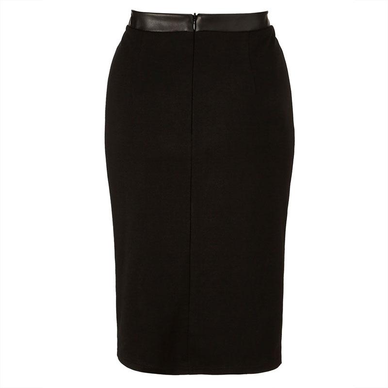 Skirt Leather Patchwork Midi Skirt Eliacher Brand Plus Size Women Clothing Chic Sexy Women Pencil Skirt 3