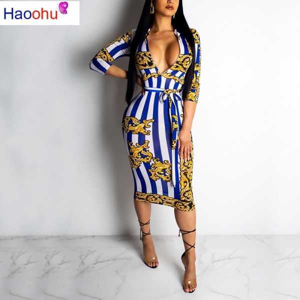 HAOOHU19 New Arrive Sexy Women Striped Deep V-Neck Half Sleeve Bodycon Dress Lady Hollow Out Skinny Lace Up Short Dress CY1130