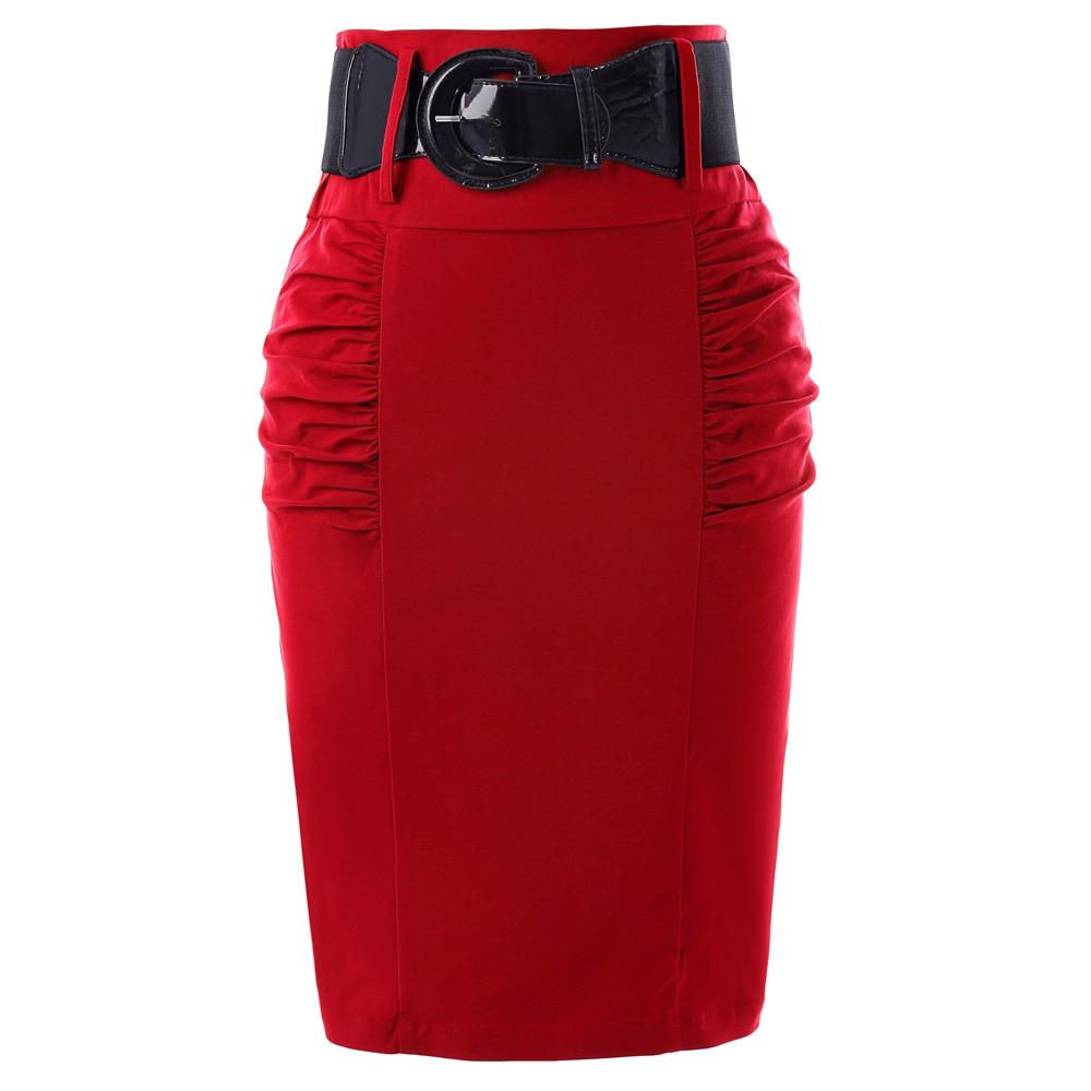 Pencil Skirts Womens Solid Black Grey Red Blue With Belt Slim High Waist Saia Bodycon Casual Office Work OL Midi Skirt Faldas 1