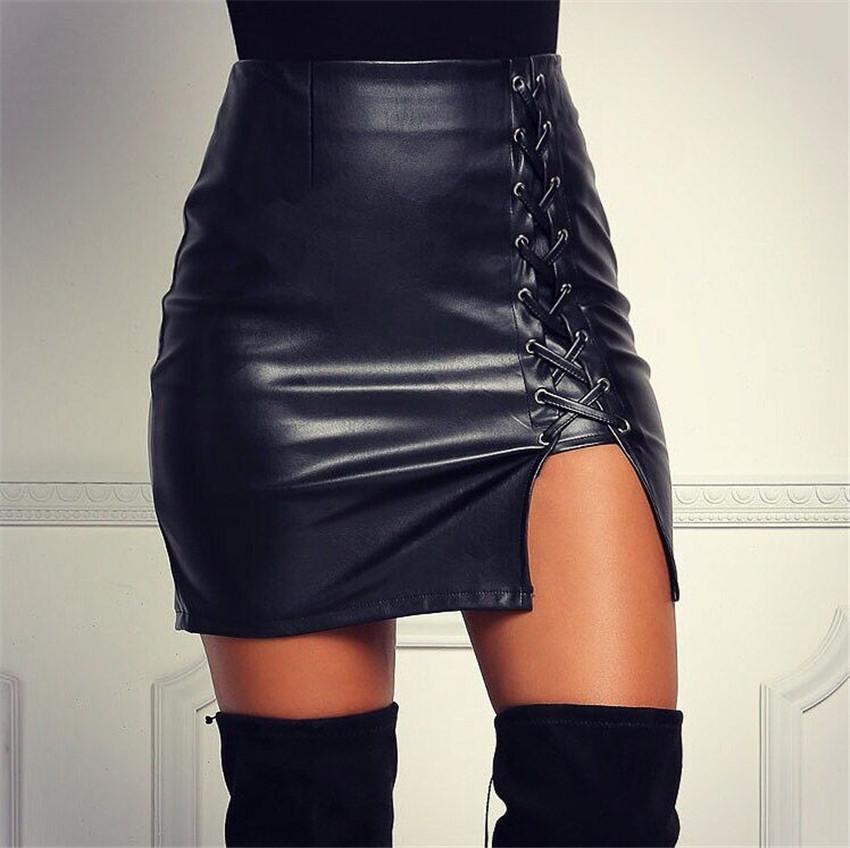 19 New Pencil Skirt Women Black Bodycon Bandage Skirts Zipper Lace Up Split Side Slit Party Club Wear Pu Leather Women Skirt 3
