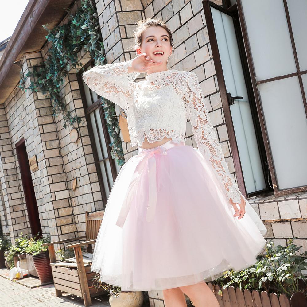 5 Layers Midi Tulle Skirts Womens Fashion TUTU Skirt Elegant Wedding Bridal Bridesmaid Skirt Wedding Lolita Underskirt Petticoat 3