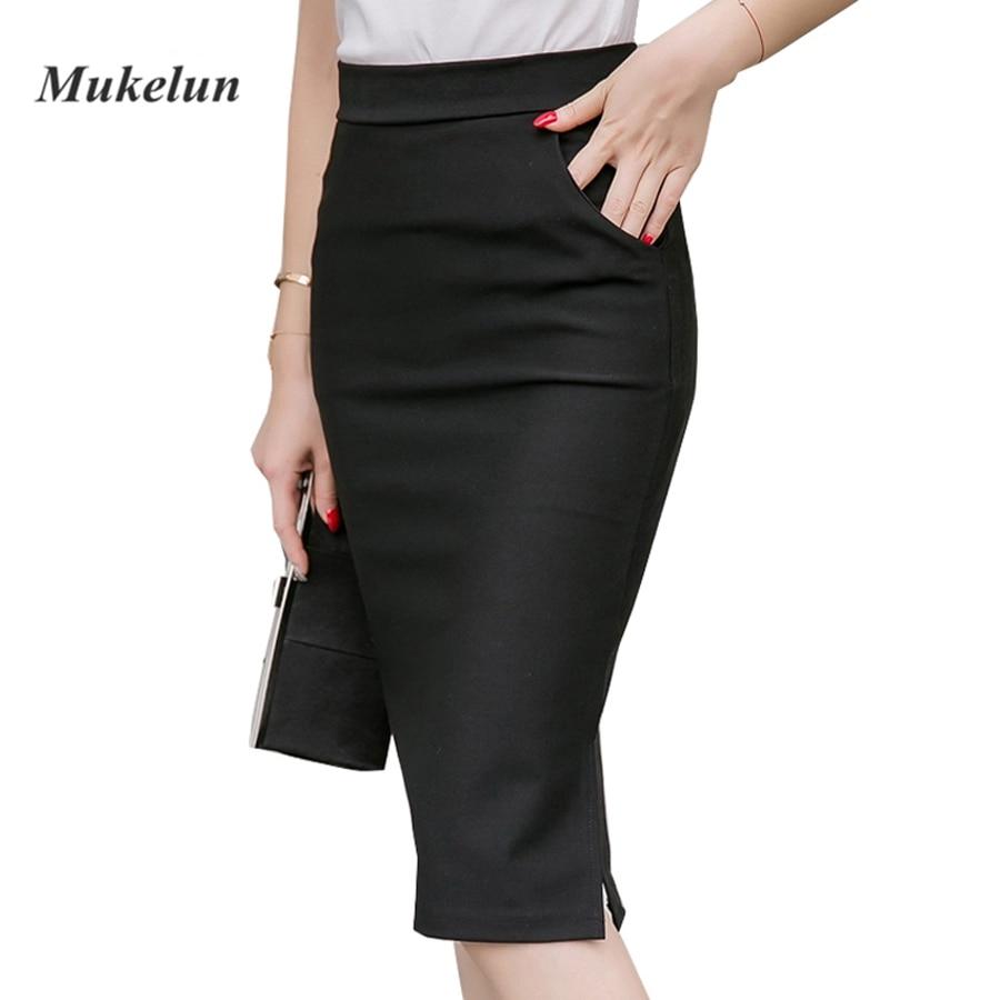 19 Sexy Women Work Skirt Slim Bodycon Summer High Waist Pockets Split Formal OL Office Ladies Black Plus Size Pencil Skirts 1