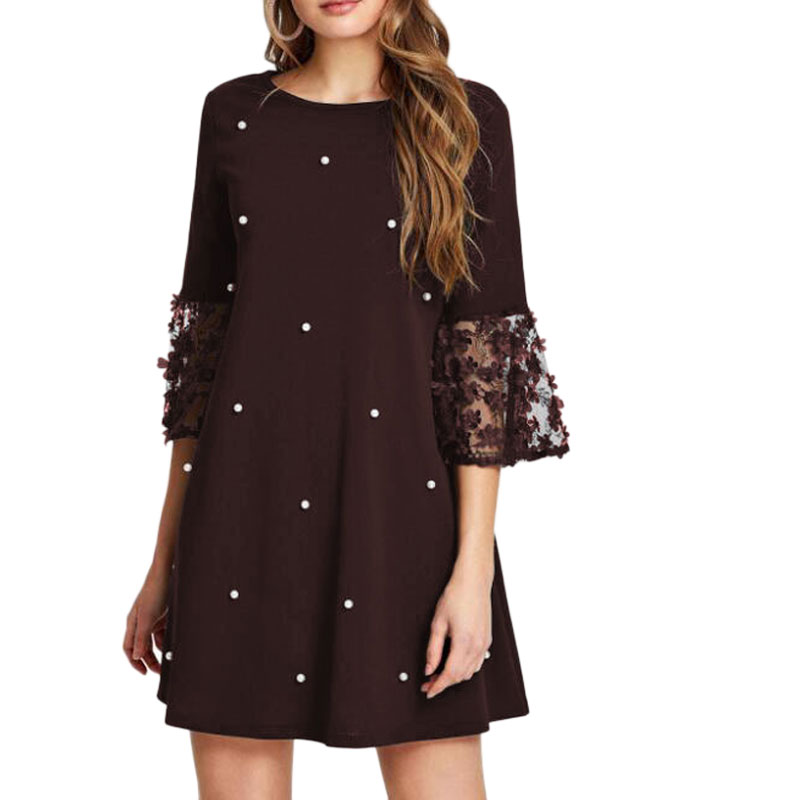 Spring Summer Women's Fashion Casual Loose Half Sleeve Elegant Dress O-Neck Polka Dot Plus Size 5XL Lace Dress vestidos 3