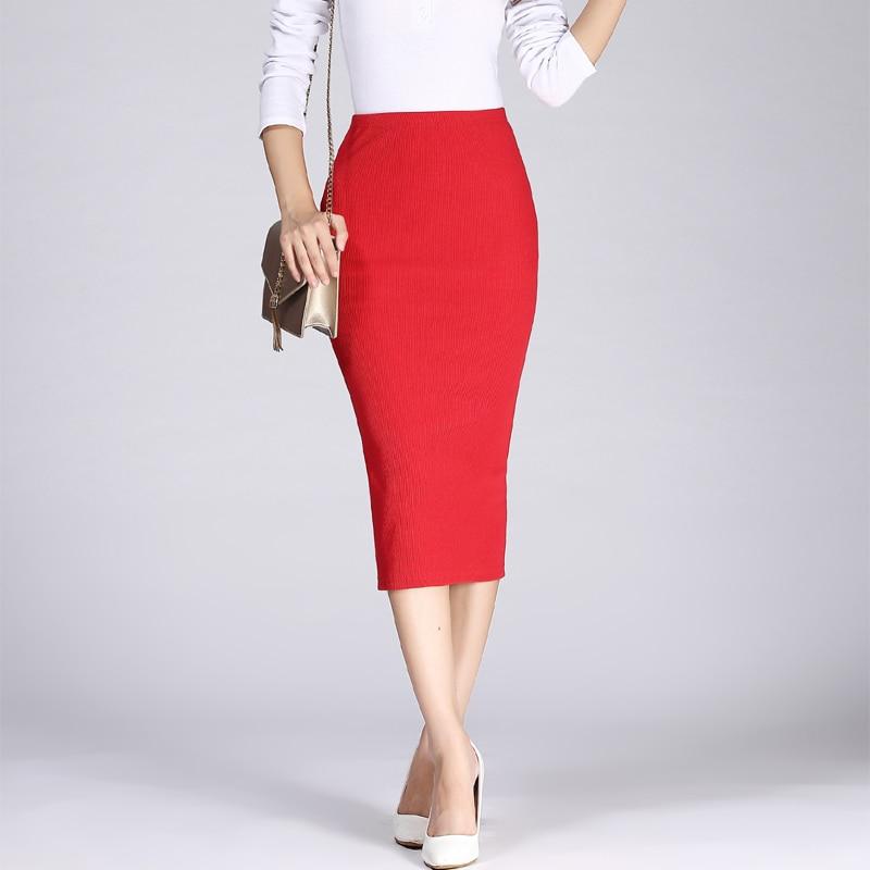 19 Spring Autumn Long Pencil Skirts Women Sexy Slim Package Hip Maxi Skirt Lady Winter Sexy Chic Wool Rib Knit midi Skirt Saia 1