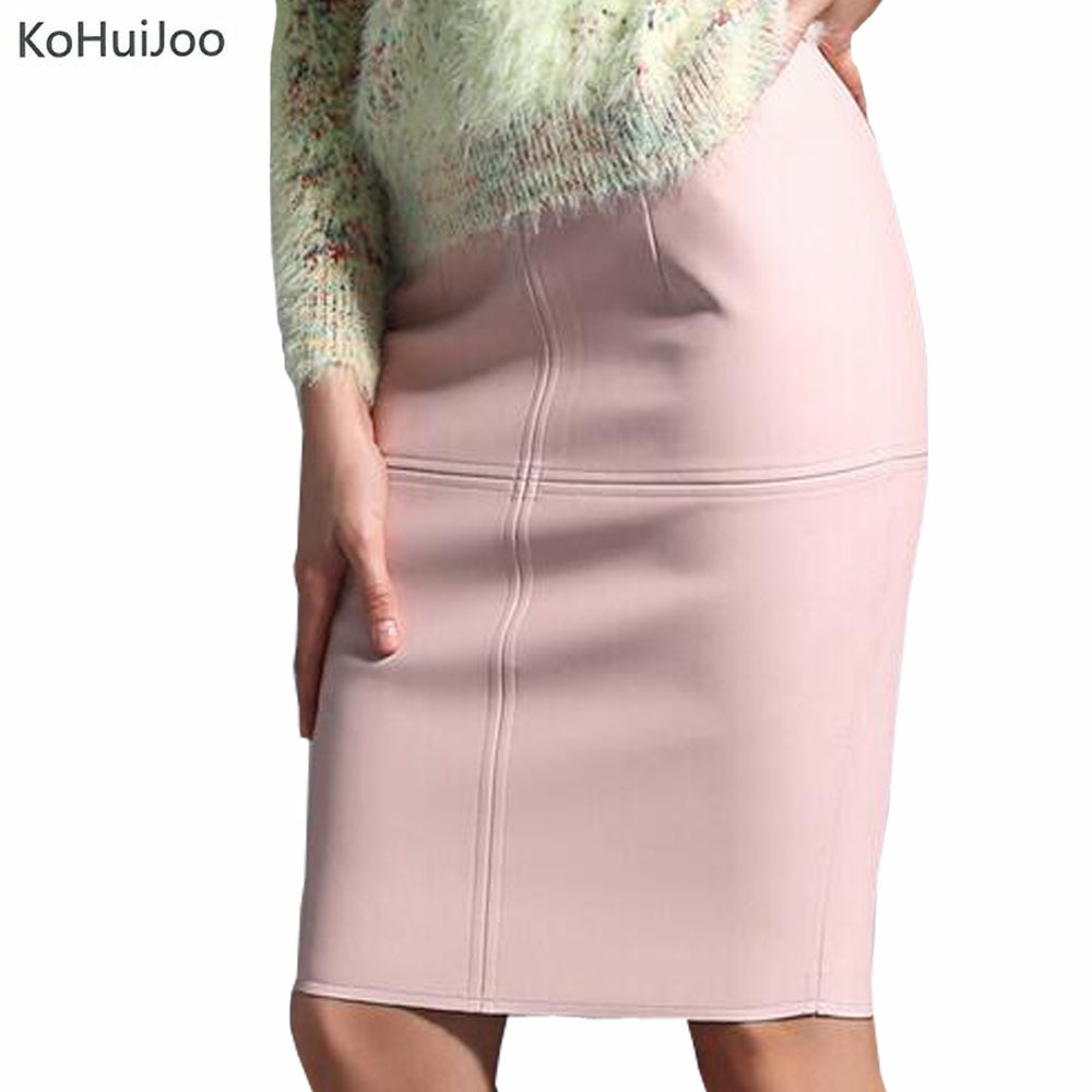 KoHuiJoo Sexy Leather Skirt Women Slim Solid Pencil Skirts Ladies High Waist Knee Length Blue Pink Faux Leather Skirt Black Red 1