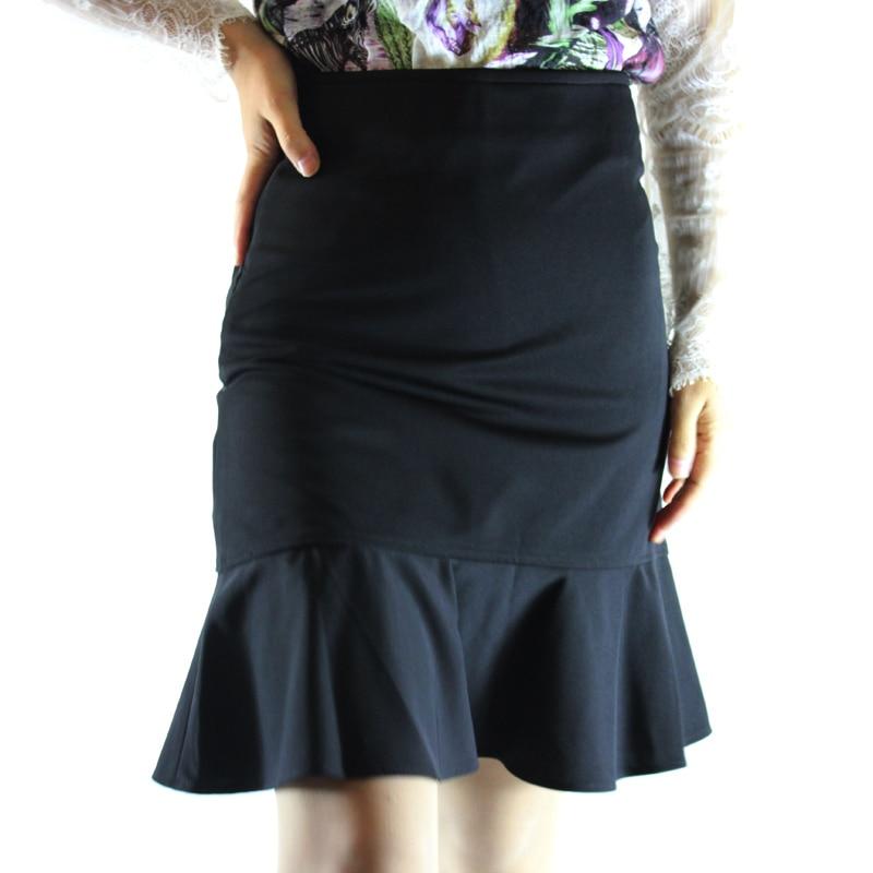 Jaderic Ruffle OL Pencil Skirt Women Sexy Slim Elegant Work Spring Autumn Skirts 18 Fashion New Brief High Waist Skirt S-4XL 2