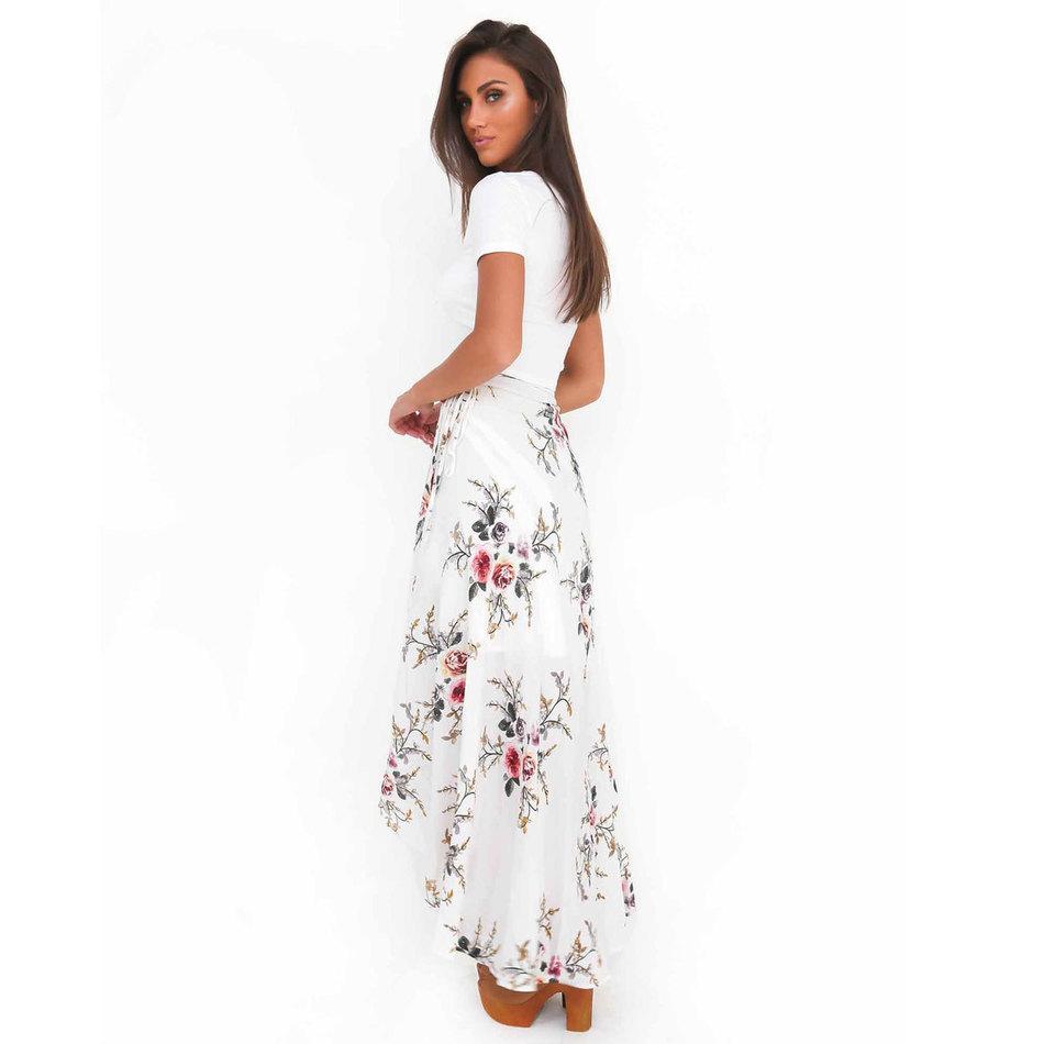 VITIANA Brand Women Vintage long Skirts Summer White Floral Print Elegant Beach Maxi Skirt Boho high waist asymmetrical skirt 2