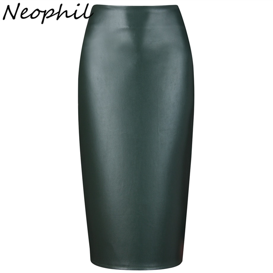 Neophil 19 Ladies Sexy Shining Faux Leather Midi Pencil Skirts High Waist Winter Elastic Bodycon Sexy Office Short Saias S0308 1