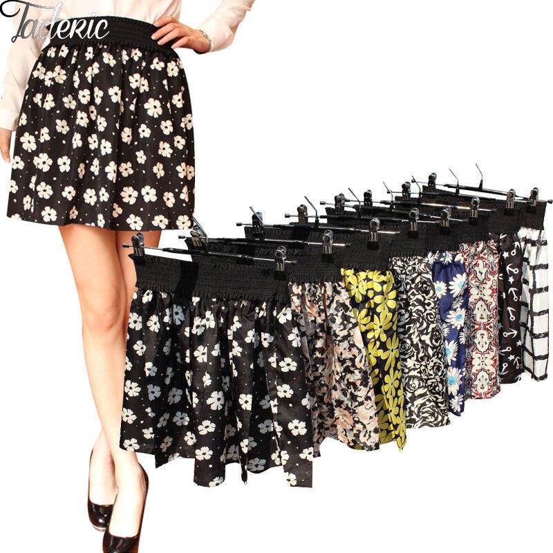 Jaderic 18 new fashion Pleated Retro High Waist Summer floral plaid short chiffon skirts mini skirt   10 Styles