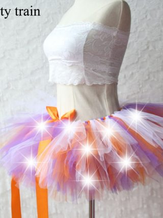 New Arrival Women Tulle Tutu Skirt Sexy Mini Fancy Adult Petticoat Fluffy Yarn Ballet Dance Halloween Led Light Up - Rave