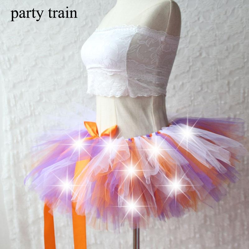 New Arrival Women Tulle Tutu Skirt Sexy Mini Fancy Adult Petticoat Fluffy Yarn Ballet Dance Halloween Led Light Up – Rave