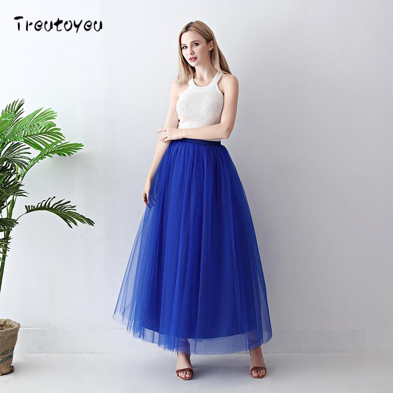 Treutoyeu 5 Layers Maxi Long Women Skirt Tulle Skirts Bridesmaid Wedding Skirt Free Size Faldas Saias Femininas Jupe 3