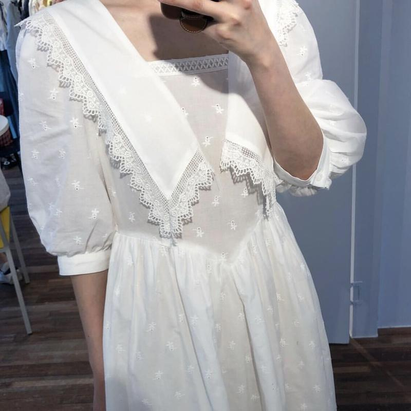 RealShe Summer Dress Long Sailor Collar Half Lantern Sleeve Ruffles Solid Women Dress Elegant Vestidos Bohemian Maxi Dress Beach 3