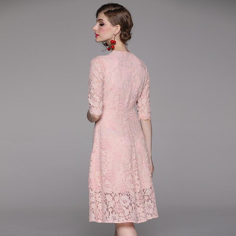 Women 19 Summer Dresses Hollow Out Women Half Sleeve Floral Crochet Casual Pink Lace Dress Femininas Vestidos 2