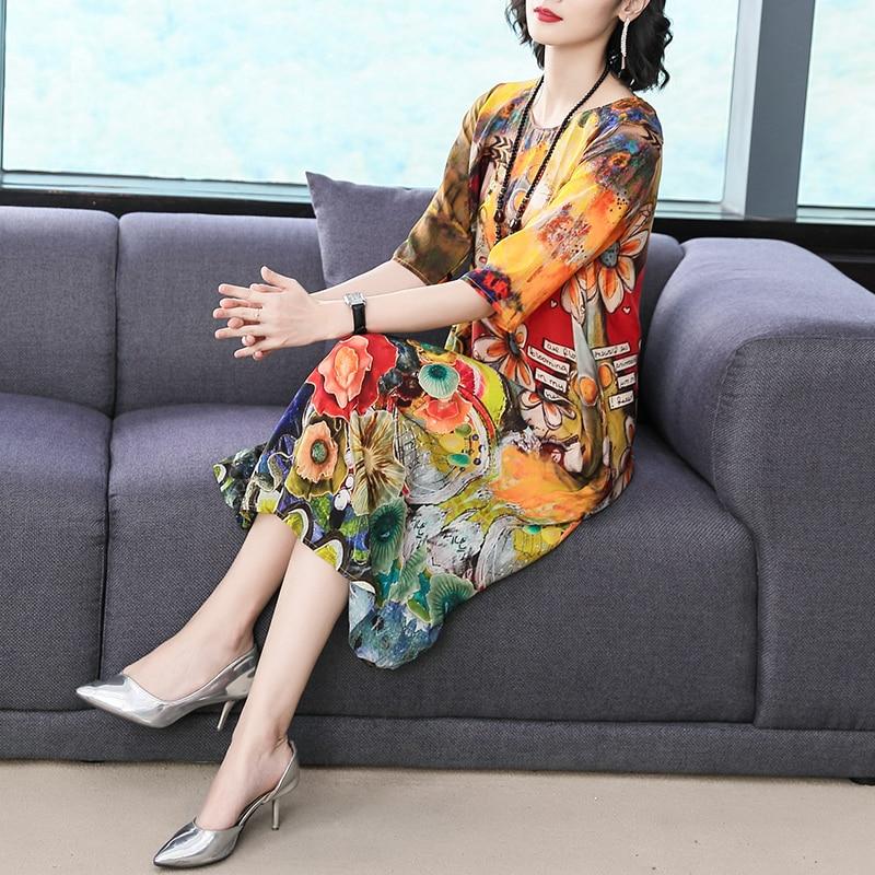 Imitate Real Silk Dresses Plus Size Loose Women Print A-Line Dress New Pattern Half Sleeves Dress Fashion Lady Nightclub Costume 3