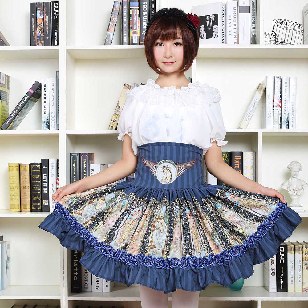 Sweet Mori Girl High Waist Skirt Blue Musha Printed Women's Short Skirt with Ruffles 2